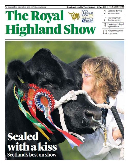 Cover of the RHASS Royal Highland Show supplement published by Canongate Communications in The Times Scotland